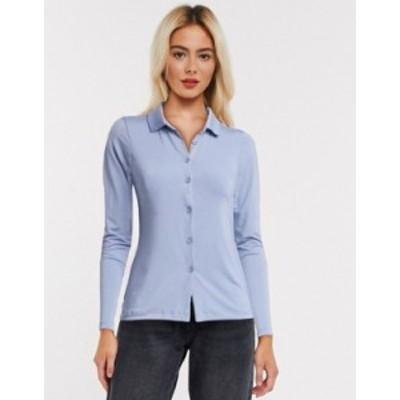 エイソス レディース シャツ トップス ASOS DESIGN slinky fitted shirt in blue Blue