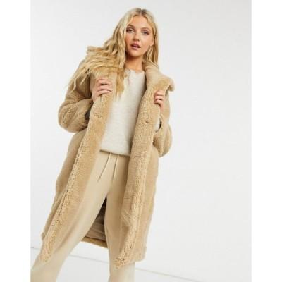 ニュールック New Look レディース コート ロングコート テディベアコート アウター longline teddy borg coat in stone ベージュ
