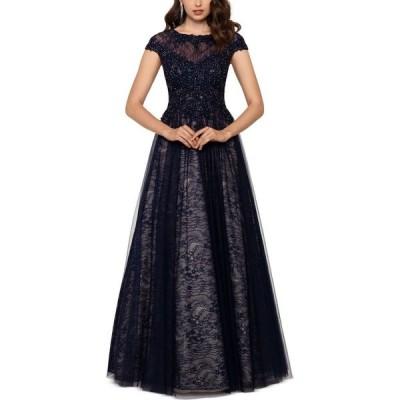 エックススケープ XSCAPE レディース パーティードレス ワンピース・ドレス Embroidered Lace Ballgown Navy/Nude