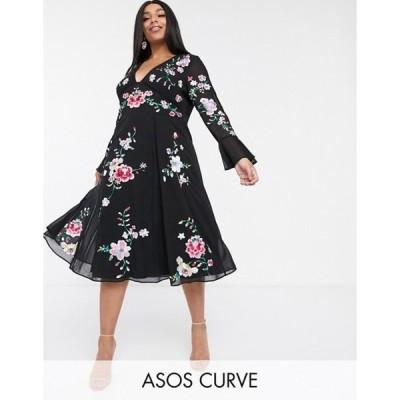エイソス レディース ワンピース トップス ASOS DESIGN Curve embroidered midi dress with lace inserts