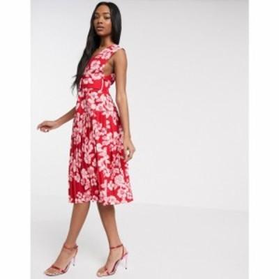 エイソス ASOS DESIGN レディース ワンピース ワンピース・ドレス floral printed self belt midi dress マルチカラー