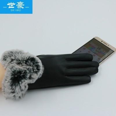 puタッチスクリーングローブレディースアウトドアライディング暖かいV字型ファーマウスイミテーションレックスウサギファーウィンターグローブワンドロップシッ