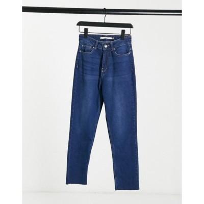ブレーブソウル レディース デニムパンツ ボトムス Brave Soul fran high waisted mom jeans in indigo blue