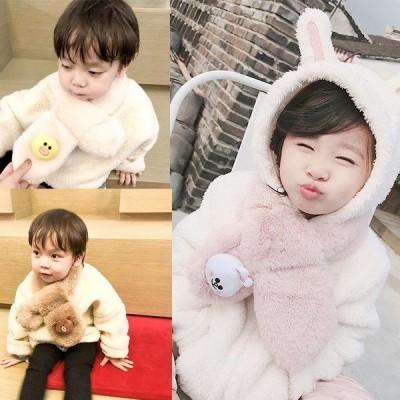 韓国子供服 ネックウォーマー ボンボンフェイクファーネックウォーマー キッズ 子供服マフラー スヌード 男の子女の子 あったか小物 こども 子ども