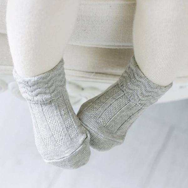 [韓風童品] 雙針波浪紋翻口兒童防滑點膠襪  男女童嬰幼兒寶寶 全棉素色 兒童襪子