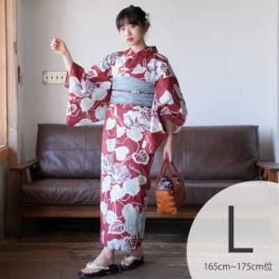 レディース 浴衣 3点セット(浴衣/帯/下駄)Lサイズ トールサイズ 大きいサイズ 日本製生地 国内染色 和歌山染工 えんじ 赤 水色 ミント