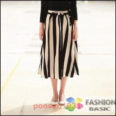 ブラック×ホワイトストライプロングスカート/ウエストリボン/フレアスカート