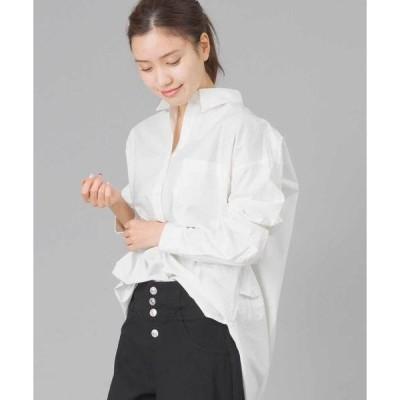 シャツ ブラウス タイプライター ウォッシャブル襟抜きシャツ
