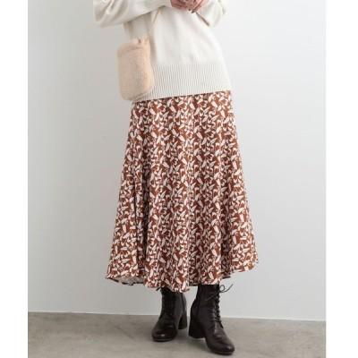 スカート フラワーAラインロングスカート