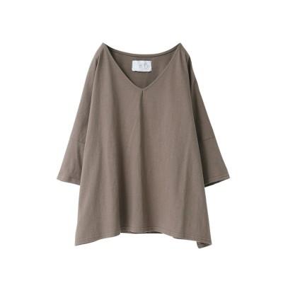 【オシャレウォーカー】 『ゆるっとシンプルVネックTシャツ』 レディース モカ フリーサイズ osharewalker