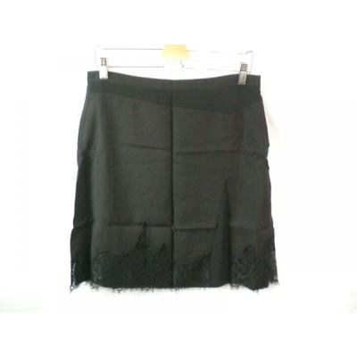 新品 未使用 ダニエラ ファルジョン DANIELA FARGION ひざ丈スカート 42 黒 ブラック レディース