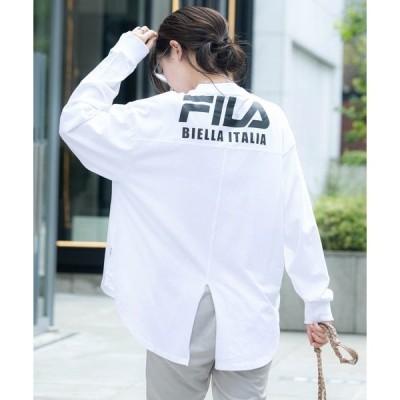tシャツ Tシャツ FILA/フィラ 別注 フロント&バックロゴ ビッグシルエットフットボール長袖Tシャツ/レディース