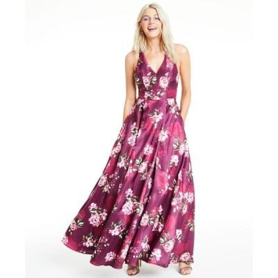 シティー スタジオ レディース ワンピース トップス Juniors' Floral-Print Bow-Back Gown