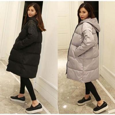 キルティングロングコート レディース ロングジャケット 暖かい フード付き 冬 中綿 ブラック 黒 グレー S M L キレイめ