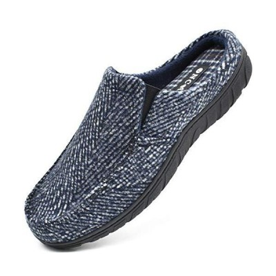 ONCAI Mens Blue Slipper,Fashion Scuff Slipper for Men Comfort Stripe Indoor
