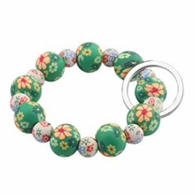 SEIRAA Wrist Keychain Bracelet Elastic Functional Beaded Bracelet Handsfree Keychain Gift for Women (Light Green)