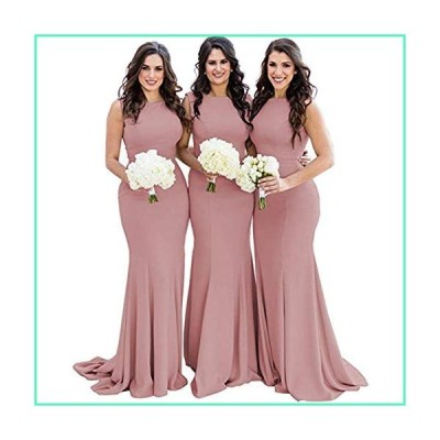 Mermaid Bridesmaid Dresses Long Backless Prom Formal Wedding Gowns for Women Spandex Dusty Rose US12並行輸入品