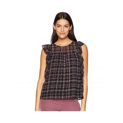 CeCe レディース 女性用 ファッション ブラウス Ruffle Sleeve Sloan Plaid Blouse - Rich Black