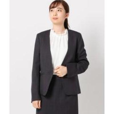 MEW'S REFINED CLOTHESウォッシャブルウィンドペンカラーレスジャケット【お取り寄せ商品】