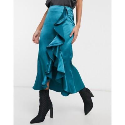 ビルゴスラウンジ レディース スカート ボトムス VL The Label satin ruffle front midi skirt with thigh split in teal