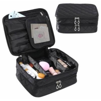 バッグインバッグ 2層 仕切り 化粧ポーチ 旅行収納ポーチ 化粧品収納 化粧道具 メイク 化粧 多機能 大容量 メイク収納バッグ 出張 送料無