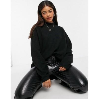 モンキ レディース ニット&セーター アウター Monki Ackie recycled knitted long sweater in black Black
