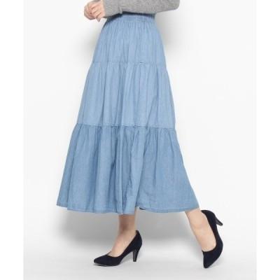 ◆デニムギャザーロングスカート
