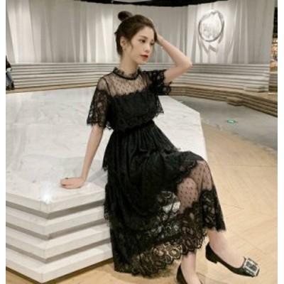 パーティードレス 結婚式 ロング 大きいサイズ 黒 ワンピースドレス ドット柄 シースルー レース ハイウエスト 半袖 お呼ばれ 披露宴 二