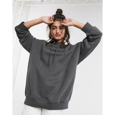 モンキ レディース パーカー・スウェット アウター Monki Bae oversize hoodie in dark gray