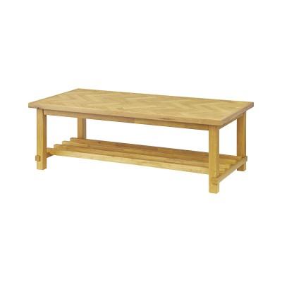 オーク材のへリンボーン柄リビングテーブル