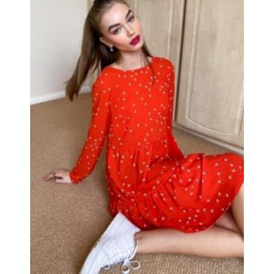 エイソス レディース ワンピース トップス ASOS DESIGN long sleeve tiered smock mini dress in red ditsy print Red based floral
