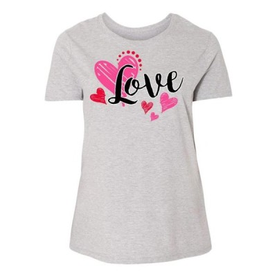 レディース 衣類 トップス Valentine's Day Love With Pink And Red Hearts Women's Plus Size T-Shirt Tシャツ