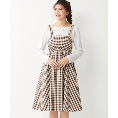 大きいサイズ フレアシルエットジャンパースカート(オリーブ。デ。オリーブ) ,スマイルランド, ワンピース, plus size dress