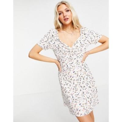ウェンズデーガール ミニドレス レディース Wednesday's Girl mini dress with ruched front in ditsy floral エイソス ASOS ピンク