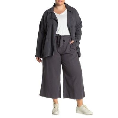 カスロン レディース カジュアルパンツ ボトムス Solid Linen Blend Crop Pants GREY FORGED