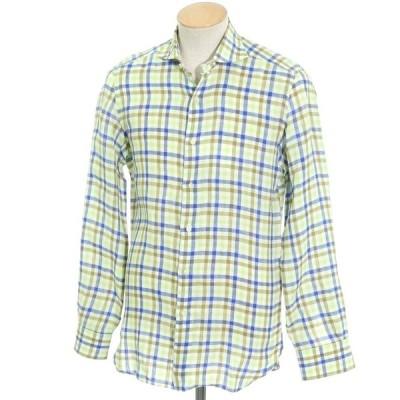 エリコフォルミコラ Errico Formicola リネン チェック カジュアルシャツ ライトグリーン×ブルー系 38