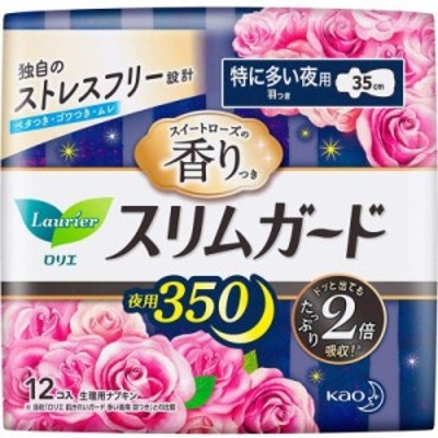 花王 ロリエ スリムガード スイートローズの香り 特に多い夜用350 羽つき 12コ入