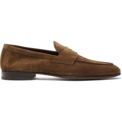 サントーニ Santoni メンズ ローファー シューズ・靴 Carlos suede penny loafers Brown