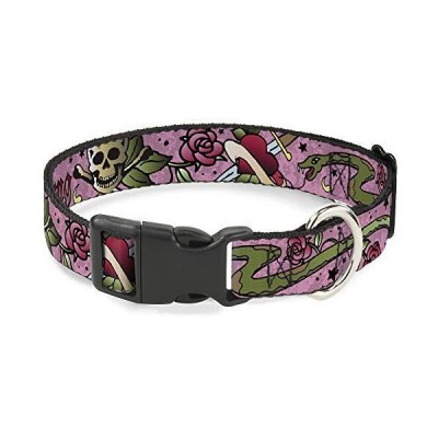 Buckle-Down Cat Collar Breakaway Live Hard Die Young Pink 8 to 12 Inches 0.5 Inch Wide【並行輸入品】