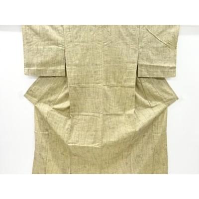 リサイクル 楓に線描き模様織出手織り節紬単衣着物