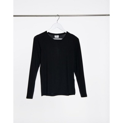 ヴェロモーダ レディース Tシャツ トップス Vero Moda long sleeve round neck top in black Black