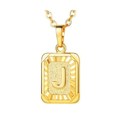 U7 A-Z 26 Letters Pendant Men Womens Fashion Jewelry 18K Gold Plated S