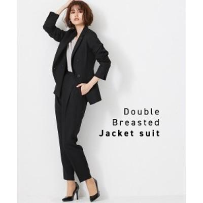 スーツ 大きいサイズ レディース ストレッチ素材使い ラクチン すらりと見える ダブルブレスト ジャケット テーラード +テーパード パン