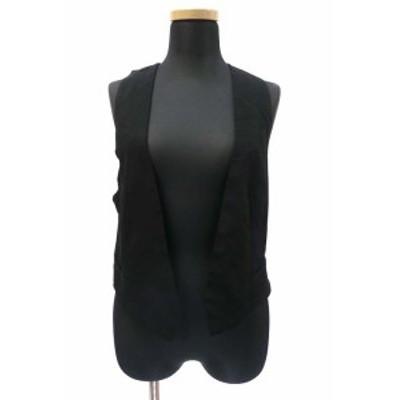 【中古】エイチ&エム H&M レーヨン とろみ アクセントベスト 羽織 ブラック XS レディース