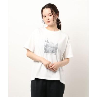 tシャツ Tシャツ モノクロフォトプリントTシャツ