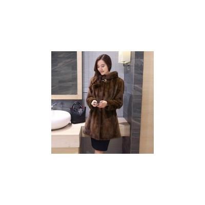ファーコート レディース 毛皮コート ミンク ロッグコート フード付き フェイクファー 高級 おしゃれ 上着 暖かい 防寒 冬服 秋服 新作