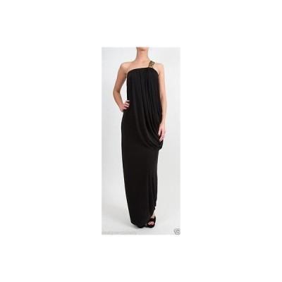 ドレス 海外セレクション T-Bags Los Angeles Maxi Dress with Gold Braid Trim in Black