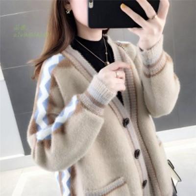 グループ 2020 トップス ルーズ セーター 秋  模造 ィガン 女性 ジャケット セーター カシミヤ コート カーデ 女性 ニット ショート ミン