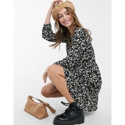 ニュールック レディース ワンピース トップス New Look shirt dress in black animal print