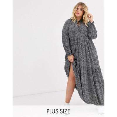 ニュールック レディース ワンピース トップス New Look Curve tiered maxi dress in black pattern